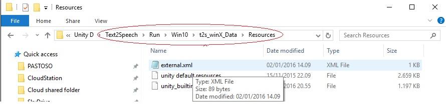 external XML unity TTS