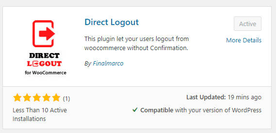 Download plugin for bypasses the WooCommerce logout confirmation link